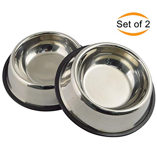 Mlife Stainless Steel Dog Bowl with Rubber Base for Small/Medium/Large Dogs, Pets Feeder Bowl and Water Bowl Perfect Choice (Set of 2) M by Mlife