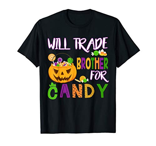 Blues Brothers Halloween (Will Trade Brother For Candy Halloween T-Shirt Girls -)