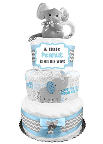 Elephant Diaper Cake - Little Peanut - Boy Baby Shower Gift - Blue and Gray]()