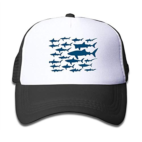 Ocean Shark Floral Sea Fish Youth Adjustable Mesh Hats Baseball Trucker Cap for Boys and Girls (One Size, Black 1)