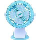 Genda 2Archer Battery USB Clip on Mini Desk Fan Portable Table Fan, Blue