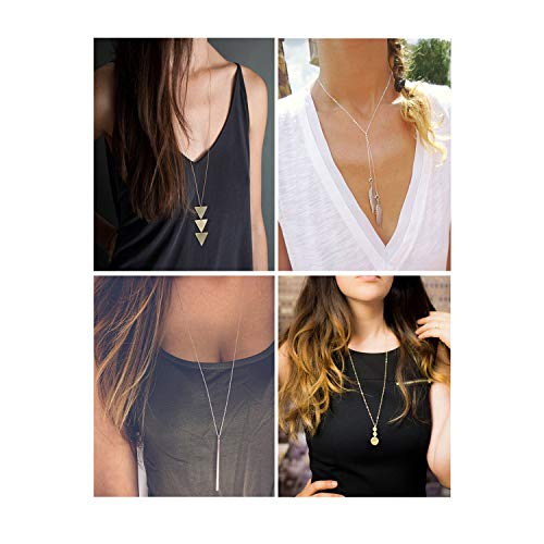Long Bar Necklace - Dcfywl731 4 Pcs/Set Silver Gold Pendant Long Necklace Set Simper Bar Triangle Necklace for Women (Set 1)