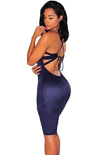 Azul marino Piel Sintética Trenzado Tiras Espalda Bodycon Vestido Club Wear TAMAÑO U/l 12–14