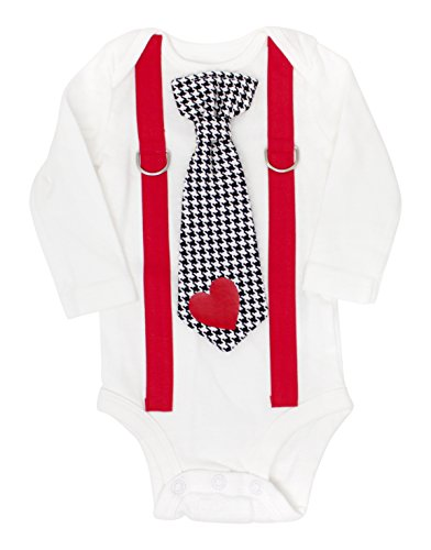 Cuddle Sleep Dream Baby Boy Valentines Day Outfit, Tie & Suspender Bodysuit (3m Long Sleeve, Red Suspender w/Black Houndstooth + (Houndstooth Outfit)