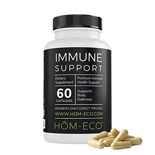 Immune Support by HomEco, Herbal and Mushroom Complex, Including Vitamin E and C, Selenium, Turmeric, Pomegranate, Garlic and Cat's Claw