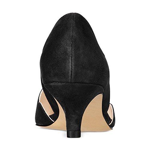 2d5fc8b051d YDN Women Classic Pointy Toe Kitten Pumps Slip-on Suede Low Heel D'Orsay  Shoes Formal Black 4