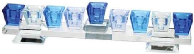 Art Judaica Elegant Low Crystal Chanukah Menorah Hanukkiah in Shades of Blue 11