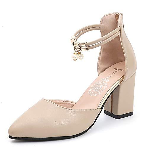 ZHZNVX Ankle amp; Women's Heels Beige Toe Heel Strap Polyurethane Shoes Spring Summer PU Pointed Black White Beige Chunky XqqHrx0w