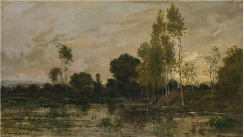 Perfect Effect Canvas ,the Vivid Art Decorative Prints On Canvas Of Oil Painting 'Charles-Franois Daubigny - Alders,1872', 10x18 Inch / 25x45 Cm Is Best For Living Room Gallery Art And Home Artwork And (How Much Does Windows 7 Cost)