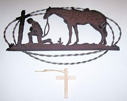 ABC Products - Rusty Metal Cut-Out - Of A Cowboy Kneeling With His Horse At The Cross - In Prayer - In A Twisted Wire Oval Frame - Old Country Design - (Rustic Rust Finish) ()