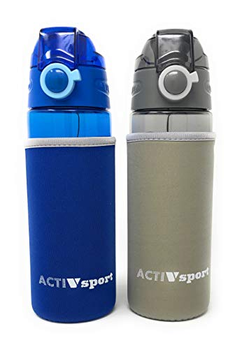 (Sports Water Bottle 2-Pack Multi-Pack with Insulating Sleeve, 2 Colors, Eastman Tritan, BPA-Free, Leak-Proof, Easy Locking & Push Button Flip Top, 20oz (600mL), by Unity (Blue/Gray))