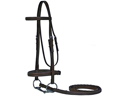 Paris Tack Triple Stitch Bridle with Laced Reins, Havana Brown, Full (English Bridle With Reins)