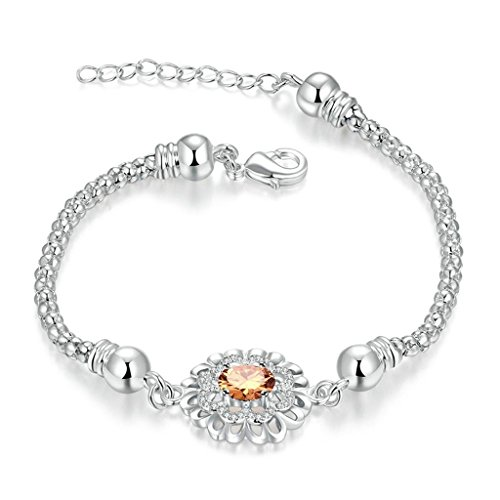 Wolf Haley Costume (AmDxD Jewerly Gold Plated Women Bracelet Silver Champagne Crystal Flower 20CM with 5CM Extension Chain)