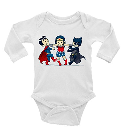 Superman, Wonder Woman, and Batman Kids Long Sleeve Unisex Onesie -