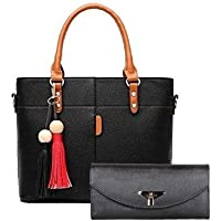 Fargo Flames PU Leather Women's Handbag With Hand Clutch Combo Of 2 (Black_FGO-161)