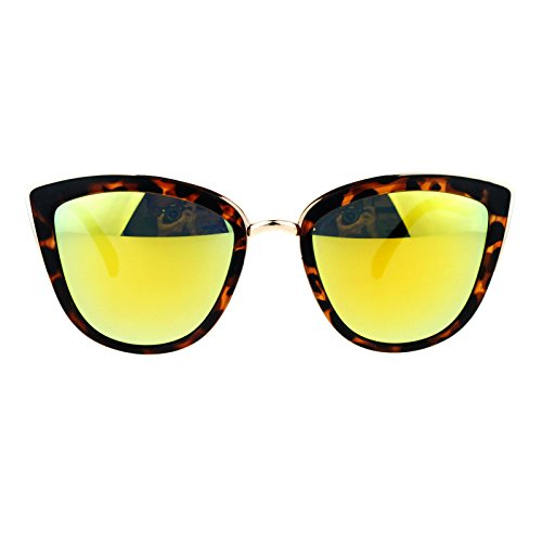 SA106 Womens Color Mirror mirrored Lens Oversize Cat Eye Sunglasses Tortoise Yellow