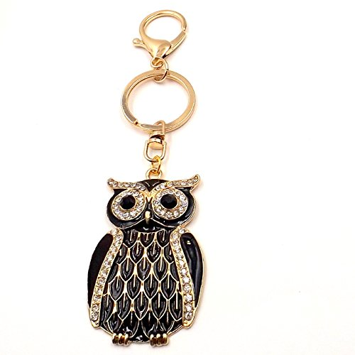 Black Enamel Rhinestone Golden Owl Keychain Car Pocketbook Accessory Fob Ring Pocket Clip