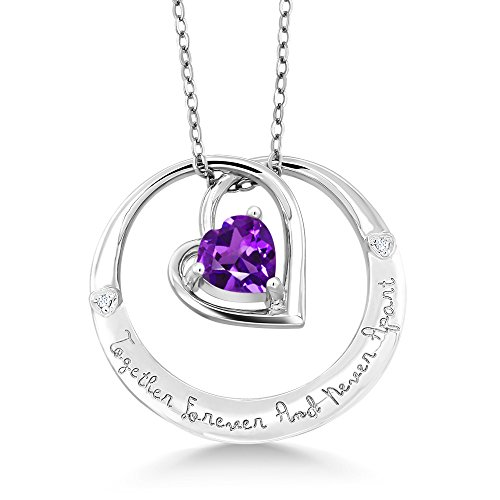 925 Sterling Silver Together Forever And Never Apart Amethyst & Diamond Pendant (Amethyst Pendant Jewelry Diamond)