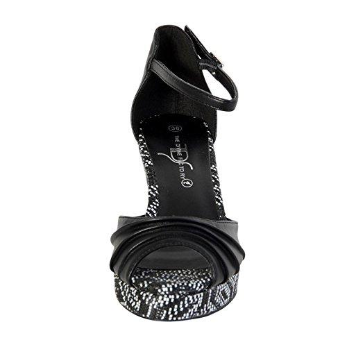 Sandalias Compensada Femme La Divina Fábrica TDF2910 Negro Noir