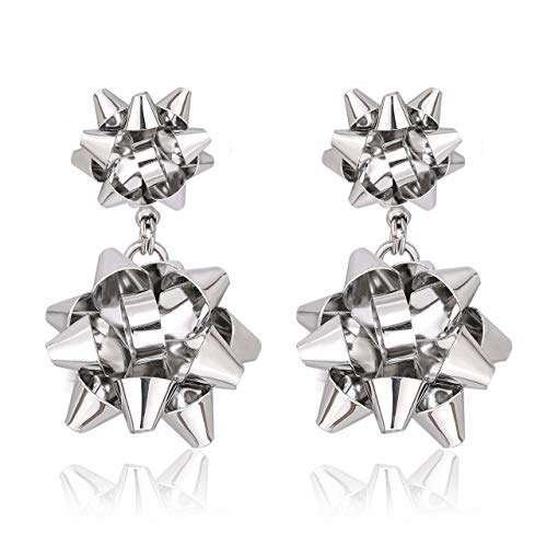 VK Accessories 3 Pairs Christmas Earring Different Styles Bow Shape Santa Reindeer Earrings (Silver 2 bow drop earrings)