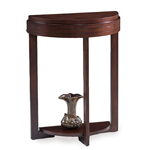 Bowery Hill Demilune Accent Table in Chocolate (Silhouettes Cherry Chocolate)