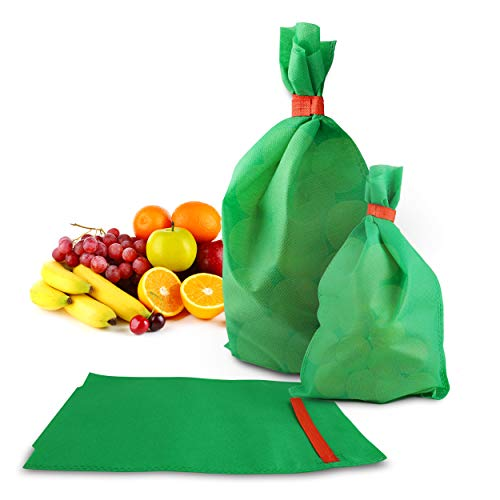 Fabric Fruit Protection Bag - 100 Green 5.9 x 9.8 in Outdoor Netting Mesh Bags. Longer & Stronger Hold. Gerden, Greenhouse or Tree Screen. Reusable Material for Mosquito, Bug, Birds, Winter Frost (Small Green Fruit That Looks Like An Apple)