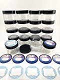 Slime Storage Container Jars with Lids – 16 Pack – 4 oz. Clear Slime Craft Jars with Lids and 2 Sets of Labels. Empty Slime and Craft Storage Jars, BPA Free