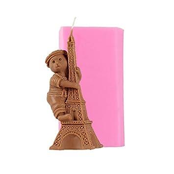 CLE DE TOUS - Molde de silicona para hacer velas jabón 3d oso y torre Eiffel forma DIY hecho a mano Craft Chocolate resina arcilla herramienta de ...