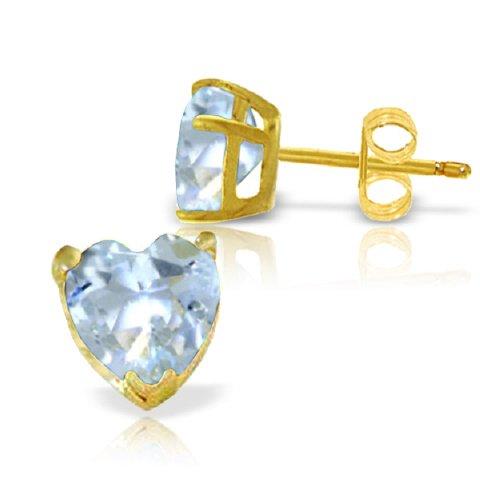 Heart Shaped Aquamarine Earrings - 7