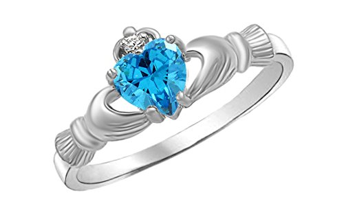 Simulated Aquamarine & Cubic Zirconia Claddagh Ring in 14k White Gold Over Sterling Silver