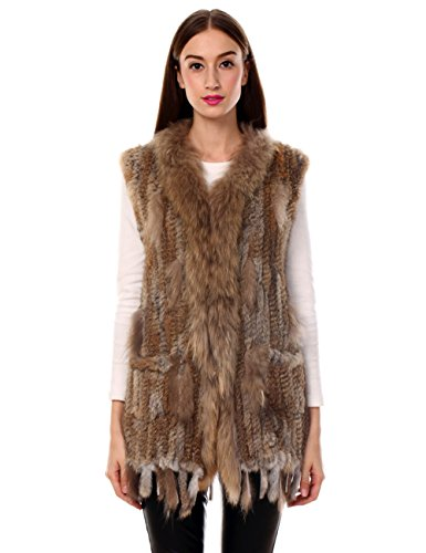 - Ferand Long Genuine Knitted Rabbit Fur Sleeveless Vest With Raccoon Trim Lightweight Knitted Design For Women, Natural Brown With Tassels, X-Small