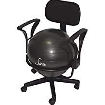 Sivan Health and Fitness Arm Rest Balance Ball Low Fit Chair with Ball and...