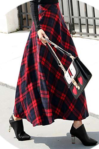 Maxi Plaid Skater Jupes Haute Femmes Jupes Partie Rouge Taille d'hiver lgant Fasumava z1TqwFS6