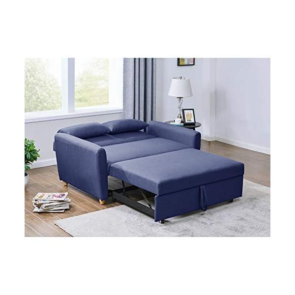 Mobilier Déco Kaya Lit canapé, Tissu, Bleu, Deux Places