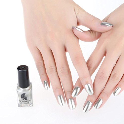 Nail Polish,SMYTShop Mirror Long Lasting Nail Polish Plating Silver Paste Metal Widest Color Stainless Steel (Light Gold)
