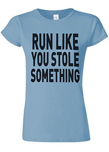 差し控えるアニメーション逆にRun Like You Stole Something Gym Novelty Light Blue Women T Shirt Top-XXL