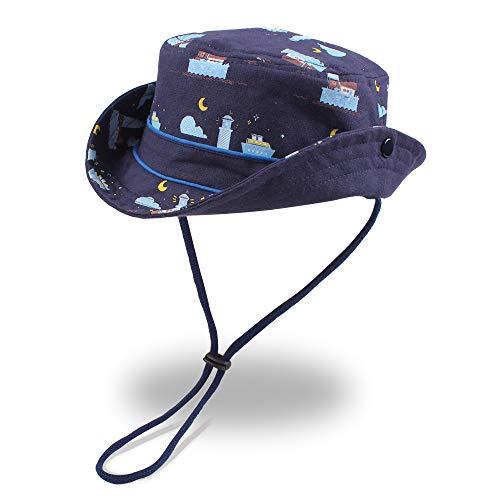 XIAOHAWANG Baby Sun Hat Boys Girls Toddler Summer Bucket Outdoor Child Beach Caps UPF 50+ for 3 Months-4 Years (Ocean Night, 18.9