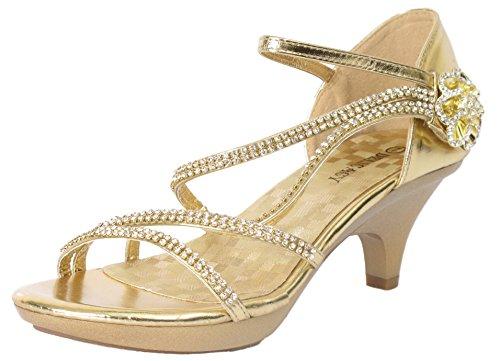 Delicacy Angel-48 Dress Open Toe Pumps Shoes Women Gold 10
