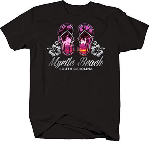 (Myrtle Beach South Carolina Flip Flops Purple Sunset T shirt for men - 3XL)