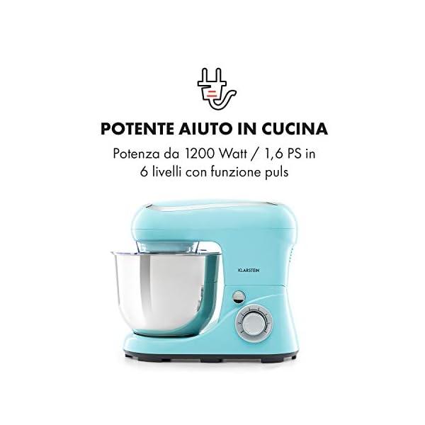 Klarstein Bella Pico 2G - Robot da Cucina, Mixer, Impastatrice, 1200 W / 1,6 PS, 6 Livelli, Sistema di Miscelazione… 3