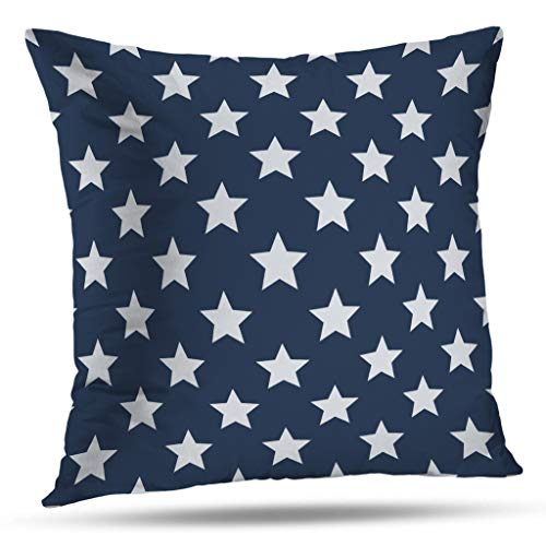Pakaku Throw Pillows Covers for Couch/Bed 16 x 16 inch,Patriotic White Blue Stars Home Sofa Cushion Cover Pillowcase Gift Decorative Hidden Zipper Cotton and Polyester Summer Beach - All Pillowcase Star