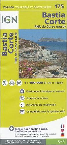 Corsica North (Corse, France) Bastia - Corte 1:100, 000 Hiking Map ...