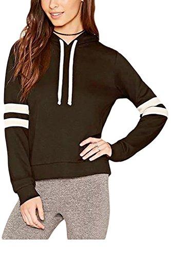 Las Mujeres De Manga Larga Casual Otoño Rayas Patchwork Colorblock Pullover Sweater Sudaderas Black
