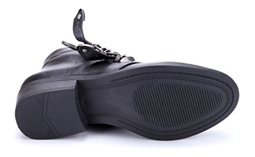 Schuhtempel24 Damen Schuhe Klassische Stiefeletten Stiefel Boots Blockabsatz Schnalle/Nieten 4 cm Schwarz