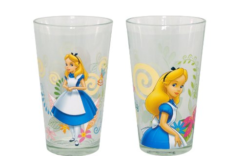 Disney Glass Alice in Wonderland Tumbler, 16-Ounce, Set of 2