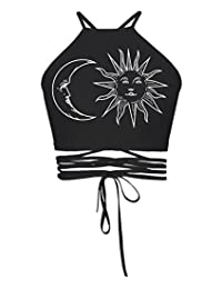 Gludear Women Skull Print Halter Backless Crop Top Self-tie Vest Shirt