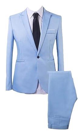 BingSai - Traje - para Hombre Azul Azul Celeste US X-Large ...