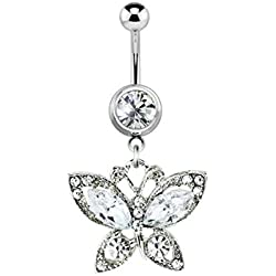 Sold Individually Gem Paved Heart Charm Dangle 316L Surgical Steel Freedom Fashion Navel Ring