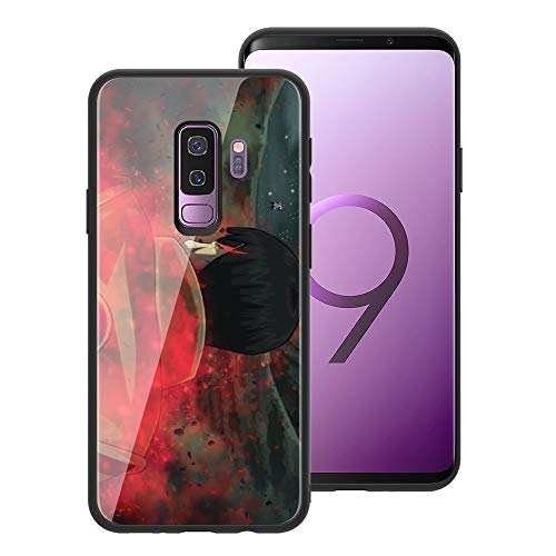 for Galaxy S9 Plus, Naruto 654 Design Tempered Glass Phone Case, Anti-Scratch Soft Silicone Bumper Ultra-Thin Galaxy S9 Plus Cover for Teens and Adults - Guy vs Madara