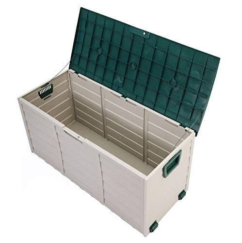 Cypressshop Outdoor Shed Garden Storage Tool Box Garbage Organizer Rolling Wheel Patio Deck Weatherproof Furniture Yard Container Utility